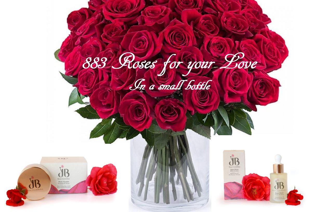 883 Rose per il tuo amore, in una piccola bottiglia.